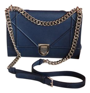 Dior Cannage Navy Silver Shoulder Bag