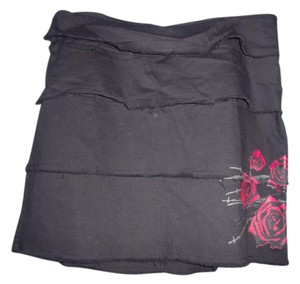 Chor Roses Tiered Gothic Punk Mini Skirt Black, Red, Gray
