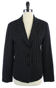 Lafayette 148 New York Wool Pinstripe Jacket Black Blazer