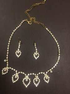Pearl Rhinestone And Gold Teardrop Necklace And Earrings