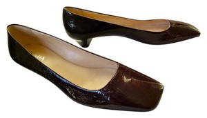 Prada Brown Patent Leather Kitten Heel Square Toe Ombre Burgundy Pumps