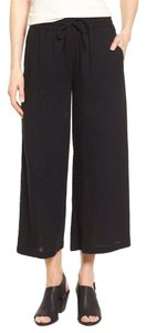Eileen Fisher Cropped Gauze Capris BLACK