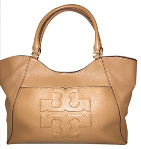 Tory Burch Pebbled Soft Tote in Bark