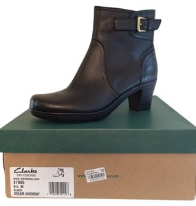Clarks Leather Buckle Detail Side Zipper Black Boots