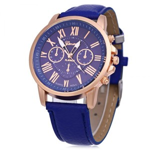 Geneva New Platinum Blue Watch Leather Band