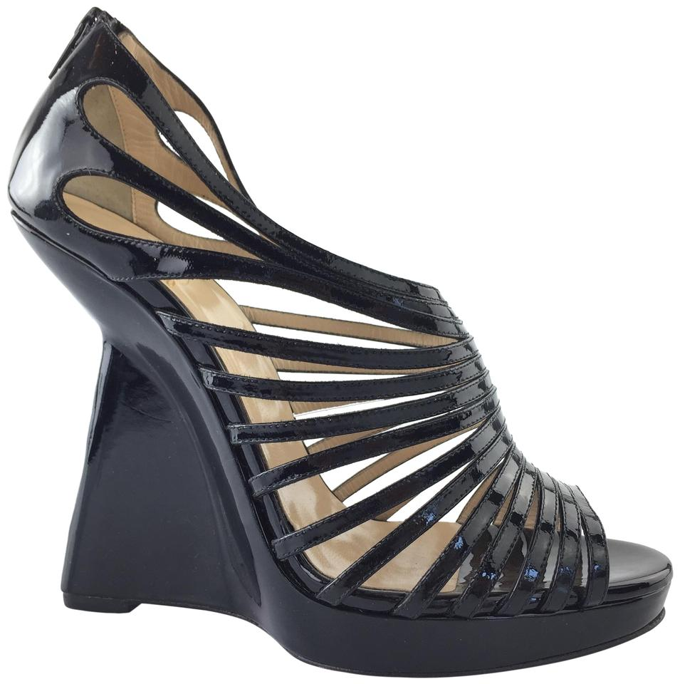 25a85cb90b6 Christian Louboutin Black Disqueen Patent Leather Cage Platform Heels  Wedges Size EU 41 (Approx. US 11) Regular (M, B) 54% off retail
