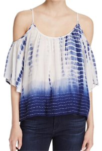 French Connection Tie Dye Boho Ombre Trendy Top Blue