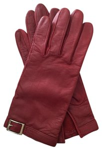 Fownes Dark Red Leather Driving Gloves