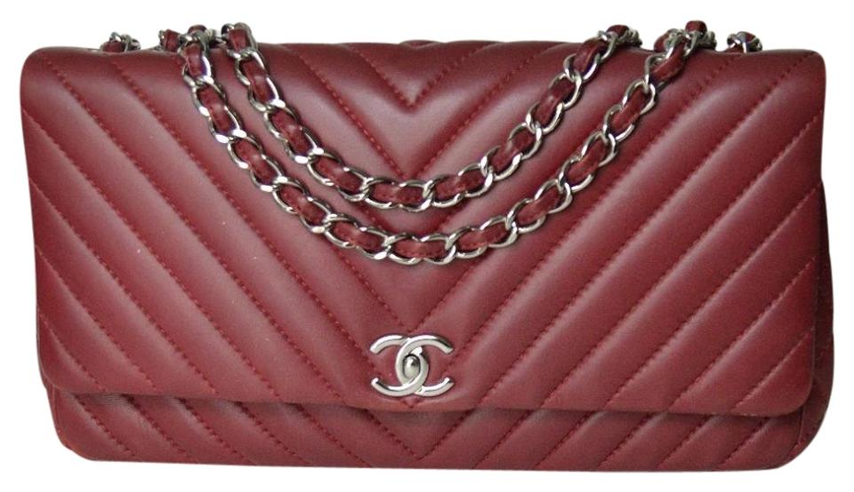 d8eb5695fbc6 Chanel Classic Flap Chevron Quilted Single Red Lambskin Leather ...