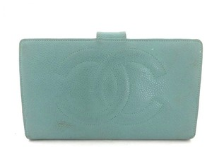 Chanel ( RARE ) Blue Caviar Leather CC Bifold Long Wallet 216028