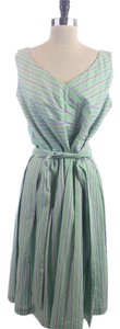Talbots Blue Striped Belted Sleeveless Dress