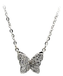 Ocean Fashion Three Mini crystal butterfly clavicle silver necklaces