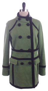 INC International Concepts Black Tipped Coat Green Jacket