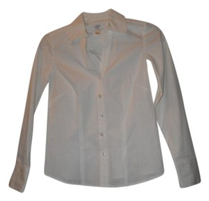 Ann Taylor LOFT Classic Fitted Cotton V-neck Spring Button Down Shirt White