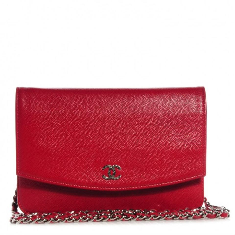 42c7eb5836c12b Chanel Wallet on Chain Sevruga Wallet On A Chain Red with Silver Hardware Leather  Cross Body Bag