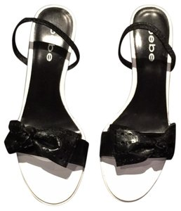 bebe Slingback Bows Summer Black/White Sandals