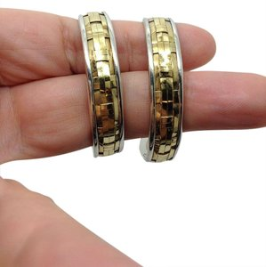 John Hardy sterling silver, 22k yellow gold, basket weave, 1.75