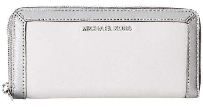 Item - Jet Set Frame Out Continental Wallet / Pearl Gray / Steel Gray Leather Clutch