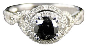 Other 14K White Gold White/Black Diamond Solitaire Engagementband Ring1.0Ct