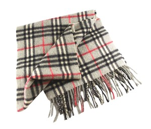 Burberry BURBERRY Heritage Scarf in 100% Cashmere Light Gray Check