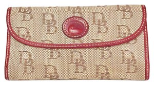 Dooney & Bourke vintage red leather monogram signature canvas long snap wallet