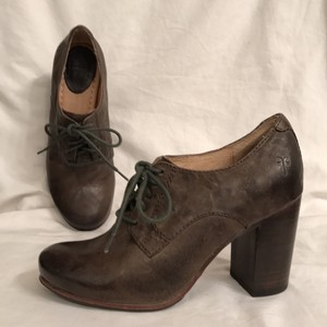 Frye Leather Lace Ups Pump Distressed Vintage Look Khaki Green Boots