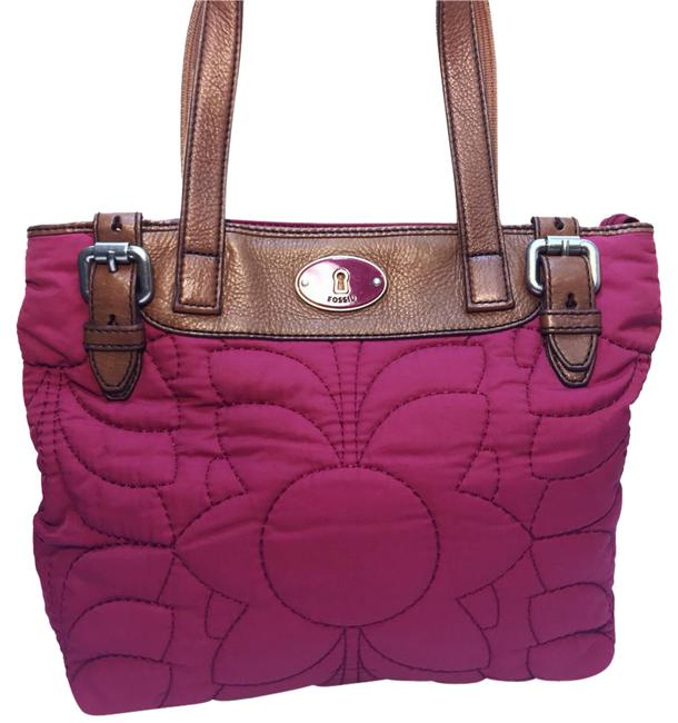 Item - Quilted Light Maroon Fabric and Leather Tote