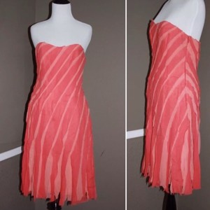 Liancarlo Coral Strapless Ribbon Dress