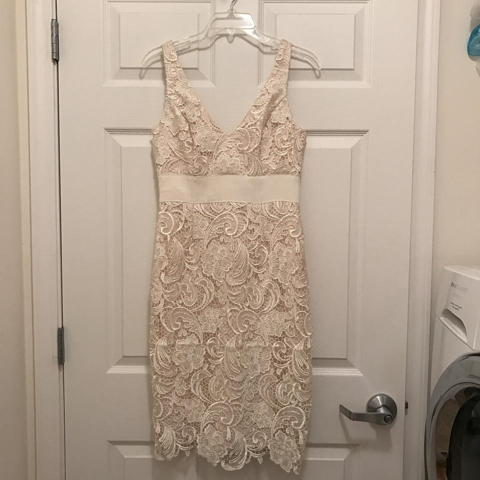 Adrianna Papell Beige (Ivory) Floral Lace & Satin Under Lay Mid ...