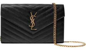 Saint Laurent Chain Wallet Leather Textured Ysl Shoulder Bag