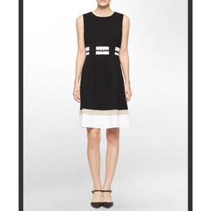 Calvin Klein Color-blocking Fit And Flare Office A-line Dress