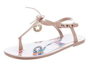Fendi Jelly Ankle Strap Zucca Gold Hardware Charm Beige Sandals
