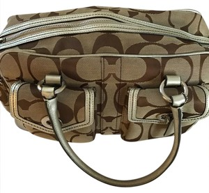 Coach Satchel in Tan/Brown and Gold