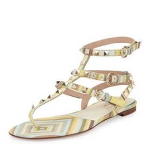 Valentino green yellow beige Sandals