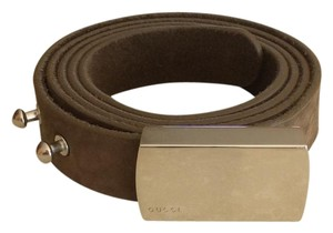 Gucci Gucci Belt Wengraved Logo Plaque Buckle Brown Belt