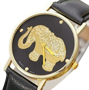 Other NEW WOMEN'S GOLDEN ELEPHANT WATCH BLACK LEATHER STRAP