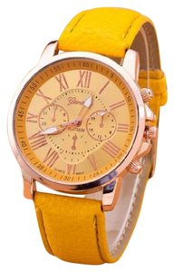 Geneva NEW WOMEN'S PLATINUM YELLOW WATCH LEATHER STRAP