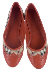 Burberry Nova Check Plaid Leather Gold Hardware Round Toe Brown, Beige, Black Flats