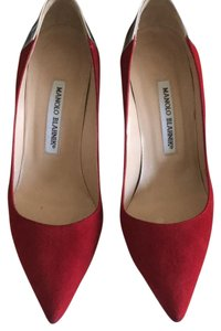 Manolo Blahnik red and silver Pumps