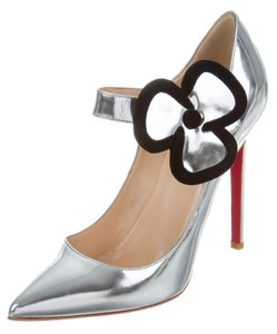 Christian Louboutin Metallic Floral Pointed Toe Mary Jane Silver, Black Pumps