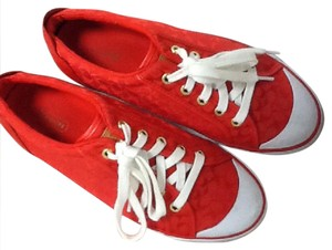 Coach red and white Flats
