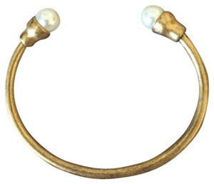J.Crew NEW ANTIQUED THIN CUFF WITH PEARLS AT ENDS