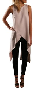 Other Layered Tunic Long Sleeveless Flowy Top Beige