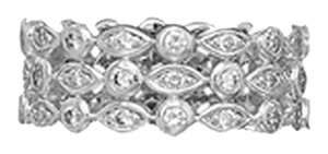 unknown Sterling Silver Rhodium Plated Triple Band CZ Ring