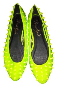 Privileged Neon Spiked Ballet Punk Summer green Flats