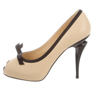 Chanel Peep Toe Cc Interlocking Cc Logo Hidden Platform Beige, Black Sandals