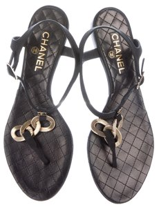 Chanel Camellia Interlocking Cc Gold Hardware Ankle Strap Chain Black, Gold Sandals