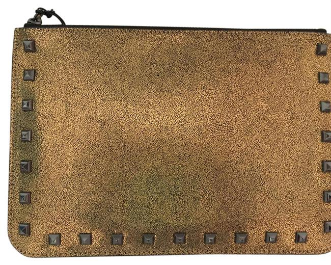 Item - Pouch Glitter Gold Genuine Leather Wristlet