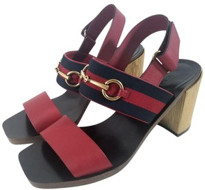 Gucci Leather Lining Goldtone Horsebit Double Band Made In Italy Red Sandals