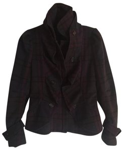 BCBGMAXAZRIA Wool Plaid Ruffle Buttons Belted Sleeve Purple Plaid Jacket